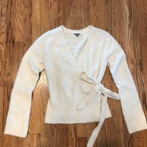 Ann Taylor Fuzzy Rabbit Angora Wool Wrap Sweater